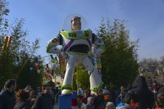 Statue of character Buzz Lightyear, in Disneyland Paris. FRANCE, PARIS - February 27, 2016 - Giant figure of the famous character Buzz Lightyear, who stock images