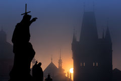 Statue of Charles Bridge at dawn Royalty Free Stock Image
