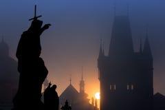 Statue of Charles Bridge at dawn Royalty Free Stock Image