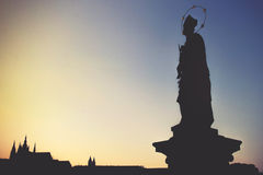 Statue on Charles Bridge (Karluv most, 1357) Stock Photography