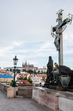 Statue on Charles Bridge Royalty Free Stock Photography