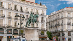 Statue of Charles III one of the famouse King of Spain timelapse hyperlapse on Puerta del Sol square in Madrid, Spain stock footage
