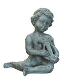 Statue of cherub playing lyre isolated. Stock Photo