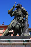 Statue of Chevalier Bayard in Grenoble. Statue of a French soldier, known as the Chevalier de Bayard, who has been known as the knight without fear and beyond Royalty Free Stock Photos