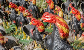 Statue of chickens. Chicken statue at the court of King Naresuan Chang Mai ,Thailand. (not for copyright. They are public domain Stock Image