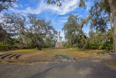 Tomoka State Park With Statue of Chief Tomokie At The Fomer Indians` Golden Cup Grounds stock images