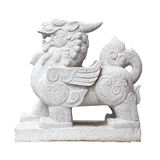 Statue china lion isolated on white guardian front of place Royalty Free Stock Photos