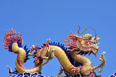 Statue of the chinese dragon. In the chinese temple Stock Photo