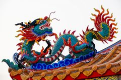 Statue of Chinese dragon. Chinese dragon is a symbol of power and wealthy in religious believe of Chinese people. In Chinese Taoism monastery, dragon is stock image