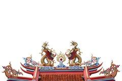 Statue chinoise colorée de dragon d'isolement sur le blanc photographie stock