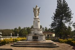 Statue of Christ the King. Near Cathedral of St. Catherine of Alexandria.  Old Goa, India Stock Photography