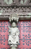 The statue of Christ on the main portal of the Protestant Church Royalty Free Stock Photo