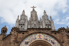 Statue of Christ on Mount Tibidabo, Barcelona Royalty Free Stock Photography