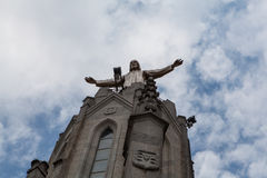 Statue of Christ on Mount Tibidabo, Barcelona Stock Images