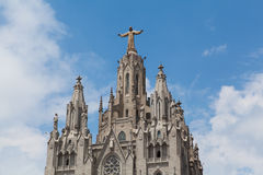 Statue of Christ on Mount Tibidabo, Barcelona Royalty Free Stock Photography