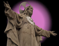 Statue of Christ with real and fake aureole Stock Images