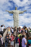 The statue of Christ the Redeemer in Rio de Janeiro in Brazil. Stock Photo