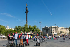 Statue of Christopher Columbus pointing America, touristst trave Stock Photos