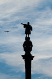 Statue of Christopher Columbus. Christopher Columbus shows a seagull Stock Photo