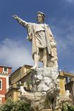 Statue of Christopher Columbus in town center pointing west in village of Santa Margarita, the Italian Riviera, Italy, Europe Royalty Free Stock Image
