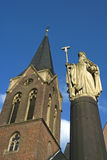 Statue and Church of Antonius of Egypt, Kevelaer Royalty Free Stock Images