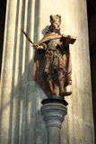 The statue in the church of St. Jakub. The statue on a column in the Gothic church of St. Jakub in Kutna Hora stock photos