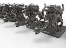 Statue cinesi del drago in una fila Fotografia Stock Libera da Diritti