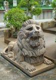 Statue cinesi del leone in tempio cinese Fotografia Stock