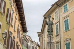 City patron Saint San Carlo Borromeo in Salo. Statue of the city patron Saint San Carlo Borromeo in Salo on Lake Garda in Italy stock images
