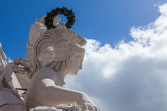 Statue close up  on Augusta street Arch in Lisbon - Portugal Royalty Free Stock Image