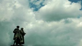 Statue and Clouds in Frankfurt. Time Lapse stock video