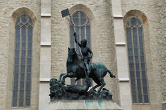 Statue in Cluj-Napoca. Statue of Saint George in front of Reformed Church Cluj-Napoca city in Romania Stock Photos