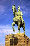 Statue in Cologne. A statue of a soldier on horseback on the bridge as you enter Cologne Main Train station Royalty Free Stock Image