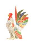 Statue colorée de poulet d'isolement sur le fond blanc Photos libres de droits