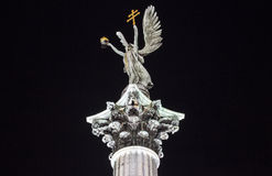 Statue on the Column at Heroes Square in Budapest Royalty Free Stock Photos