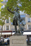 Statue of Commander Rochambeau at the rue de Galiera and rue de Chaillot in the 16th ar, honors Revolutionary War hero of Seige of Stock Photography