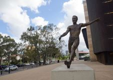 A statue commemorates AFL footballer Malcolm Blight. The statue shows Blight launching a long kick at in front of Adelaide Oval. stock image
