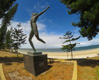 A statue commemorates Spyros Louis, winner of the first Olympic marathon in 1896. at Brighton-le-Sands. stock photography