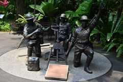 Statue commemorating the malay regiment`s bravery Singapore. Statue commemorating the malay regiment`s bravery during the Battle of Pasir at Reflections at Bukit Royalty Free Stock Image