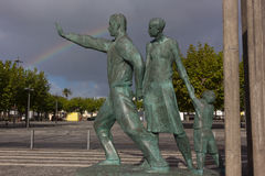 A statue commemorating migrants in Ponta Delgada, Azores, Portugal. Royalty Free Stock Photo