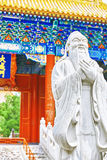 Statue of Confucius, the great Chinese philosopher in Temple of Stock Image