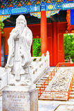 Statue of Confucius, the great Chinese philosopher in Temple of Stock Images