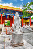 Statue of Confucius, the great Chinese philosopher in Temple of. Confucius at Beijing.China royalty free stock photos