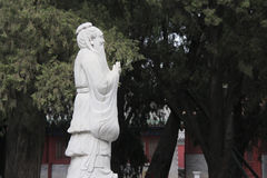 Statue of Confucius in the Temple of Confucius in Beijing. China. The temple is to commemorate ancient Chinese educator Confucius, the founder of Confucianism Royalty Free Stock Images