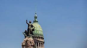 Statue congresso nacional buenos aires Stock Images