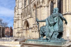 Statue of Constantine The Great, City of York in England, UK stock photos