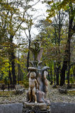 Statue in Copou Park, Iasi, Romania in autumn. The Copou Park or Copou Gardens is a historic park located in the Copou Hill neighborhood, Iaşi, Romania. A Stock Images
