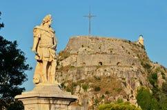 Statue and Corfu fortress. Johann Matthias von der Schulenburg statue and Corfu fortress Stock Image