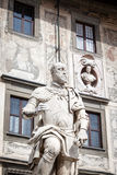 Statue of Cosimo I de Medici, Grand Duke of Tuscany, Pisa, Italy. The statue is overlooking a piazza in central Pisa Stock Photos