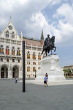 Statue of Count Gyula Andrassy on the Parliament Square in front of Parliament Building on August 9, 2015 in Budapest, Hungary. Stock Photography